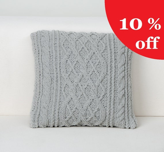 Hypoallergenic Throw Pillow Covers : Items similar to Hand Knitted Pillow Case - Cable Knit Cushion Cover - Cozy Cotton Throw Pillow ...