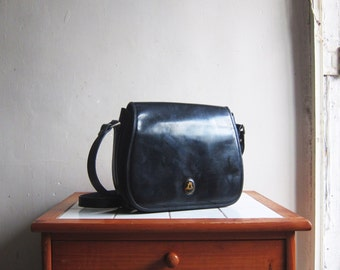 Vintage 60s Marwell black leather handbag satchel hobo shoulder cross body