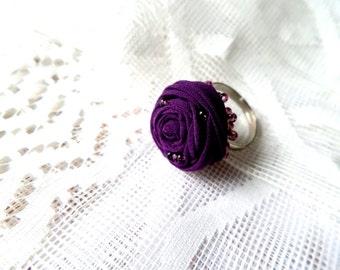 Ring purple rose, dark purple ring silk flower ring, handmade gift, small flower ring,violet flower ring, jewelry, ring flower darkly violet