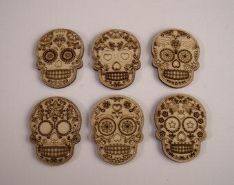 Sugar Skulls, 6 Pieces,  Laser Cutouts, Dia de los Muertos, Calavera, Day of the Dead, Gothic Wedding Favors, Sugar Skull Wood Ornaments