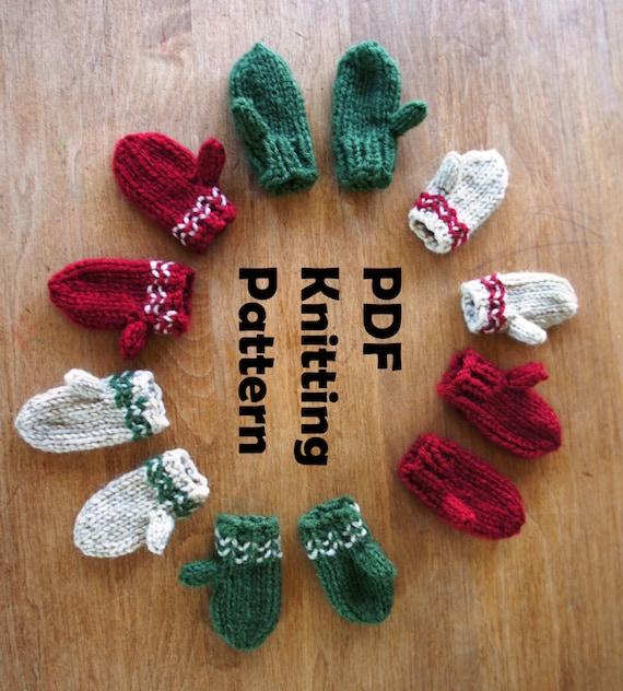 Knitting Pattern For Mini Mittens : PDF KNITTING PATTERN Mini Mittens Christmas ornament