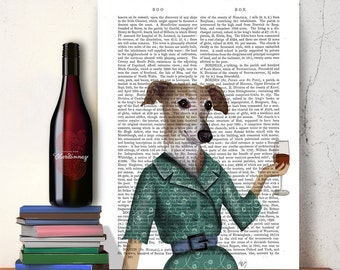Greyhound Art Print - Wine Snob Wall Art Wall Decor kitchen print wine gift wine lover hostess gift for mom mothers day gift cute dog print
