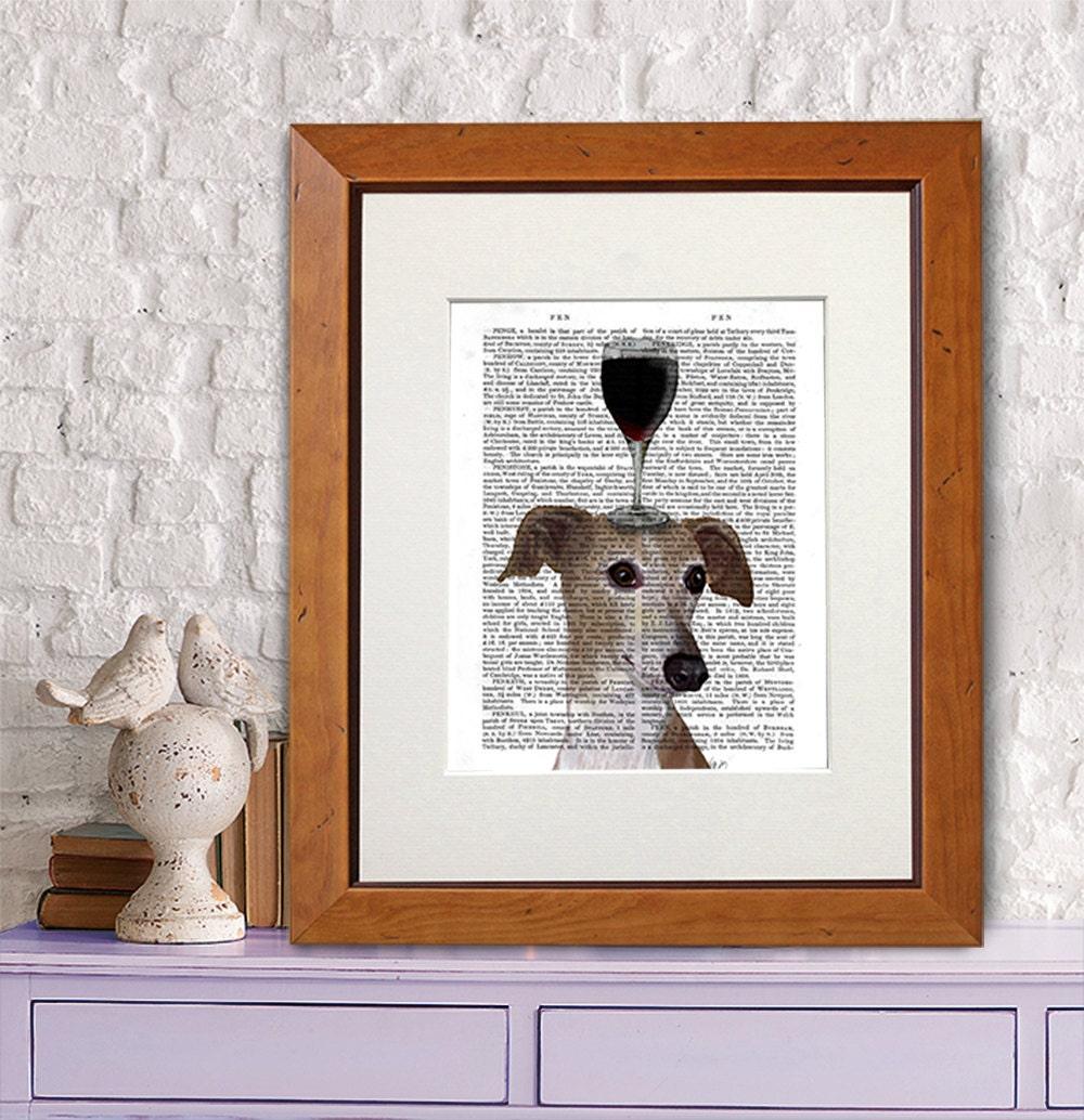 Art Prints For Kitchen Wall: Greyhound Art Print Dog Au Vin Wine Wall Decor Kitchen Art