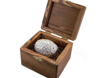 Dragon Egg - Creamy White with Crystals and wooden storage box