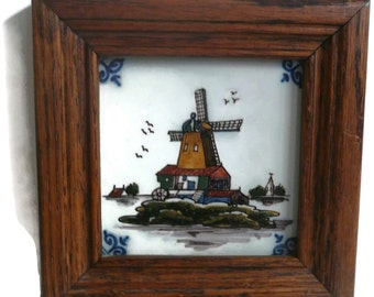 Royal Tichelaar Makkum Dutch Tile Windmill / Hand Painted Polychrome Tile / Framed / Decor / Home And Living / Collectible
