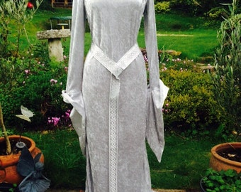 Pre Raphalite silver  fantasy Renaissance medieval   Pagan Handfasting  celtic wedding gown / dress 14 TO 20