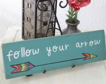 follow your arrow wooden sign, boho home decor, wooden arrow sign, boho wall art, boho sign, inspirational sign, hippie decor