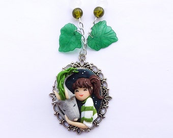 Spirited Away Necklace, Haku And Chihiro, Studio Ghibli Clay Jewels, Dragon collar