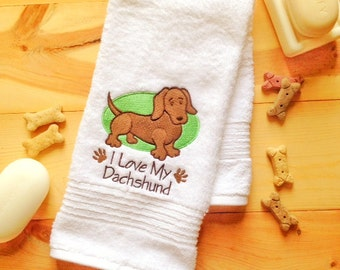 I Love My Dachshund Towel~ Embroidered Doxie Bath Towel~ Weiner Dog Towel Set~ Dog Towel~ Embroidered Dog Towel~ Wiener Dog Bathroom Decor