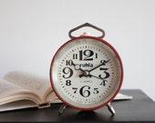 Alarm Clock, Office Desk Clock, Soviet Vintage, Red White Black, Modern Summer Home Decor, White Geometric, Midcentury Modern