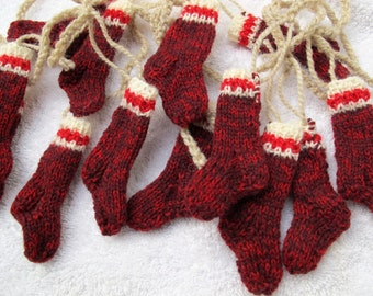 Santa's work socks garland (choice of length) / rustic mini red worksock garland / Rustic Christmas garland / Free shipping