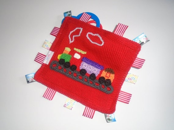 Knitting Pattern Train Blanket : Hand Knitted Red Cotton Train Comfort/Taggie Security Blanket