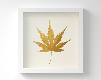 Japanese Maple Leaf – Gold Original Painting – Acrylic Metallic Paint – Handmade in Gold or Silver – Birthday Gift – Gold Leaf – 23x23cm