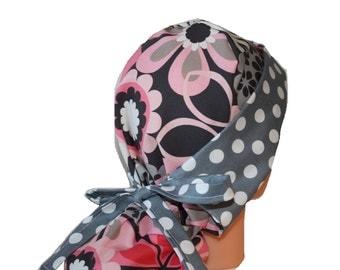 Surgical Scrub Hat Chemo Vet Nurse Dentist Chef Cap Front Fold Ponytail Scrub Hat Pink Grey Flower Shower / Dots - 2nd Item Ships FREE