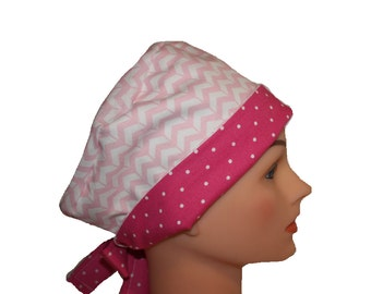 Scrub Hat Surgical Scrub Cap Chemo Hat Tie Back Flirty Front Fold Pixie Pink Chevron Dots 2nd Item Ships FREE