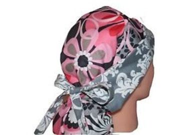 Surgical Scrub Hat Chemo Vet Nurse Dentist Chef Cap Front Fold Ponytail Scrub Hat Pink Grey Flower Shower / Damask - 2nd Item Ships FREE