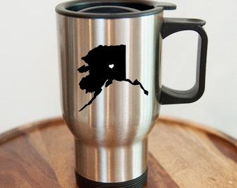 Alaska Stainless Steel Travel Mug.  Hometown, Adoption, Mission, Custom