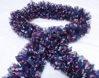 Printed Flower Fabric Knitted Ruffle Scarf