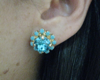 Turquoise Stud earrings, Turquoise earrings stud, Turquoise earrings gold, Turquoise studs, Swarovski Rhinestone, Bridesmaids Gift
