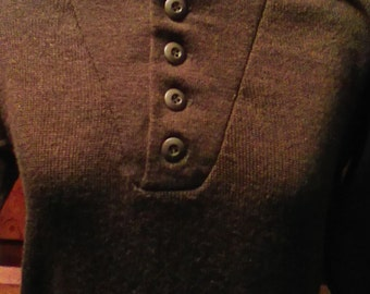 Vintage Army 100% Wool Sweater Button Down Size 38-40