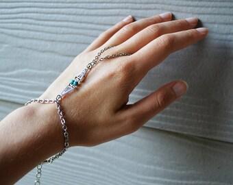 Silver slave bracelet, bracelet ring, slave ring, ring connected to bracelet.Turquoise slave ring. Boho