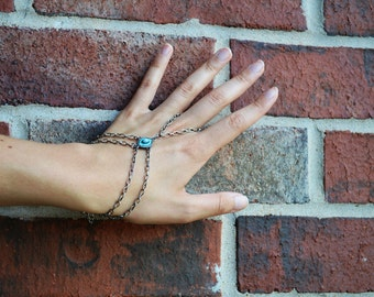 Antique Silver slave bracelet, bracelet ring, slave ring, ring connected to bracelet.Turquoise slave ring. Boho