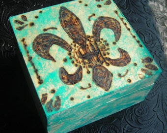 Fleur De Lis Wood Burned Box