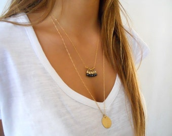 Layered Gold Necklace Set - Coin & Black  Beads Pendant Necklaces. Layer Necklace. Necklace Set of Two