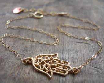 Hamsa Anklet, Layering Anklet, Gold Filled Hamsa Anklet, Dainty Gold Anklet, Gold Foot Jewelry, Delicate Hamsa Ankle Bracelet,
