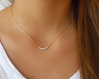Gold Filled Necklace With Sterling Silver Beads; Minimal Gold Filled Necklace; Dainty Gold Necklace; Delicate Layering Gold Necklace;