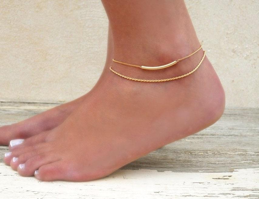 gold anklet set 2 gold anklets gold rope chain anklet gold