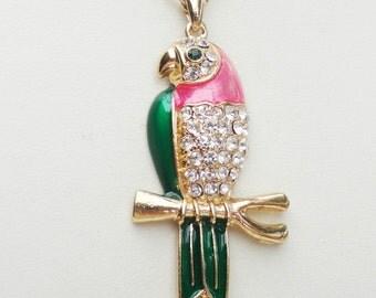 bird necklace, Parrot Pendant necklace, enamel necklace, gold necklace