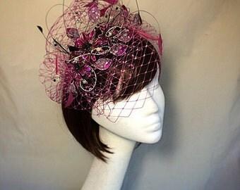 Pink fascinator, pink tiara, veiled headdress, pink and black tiara,pink flower fascinator, unique fascinator