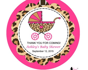 Cheetah Print Baby Shower Favor Tags
