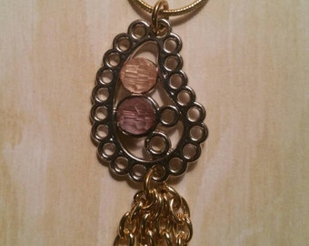 Handmade silver and gold paisley  necklace