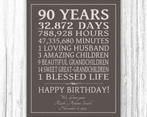 90th BIRTHDAY GIFT Sign Print Personalized Art Mom Dad Grandma Birthday Grandpa Print or Digital Download Keepsake Custom 90 Years