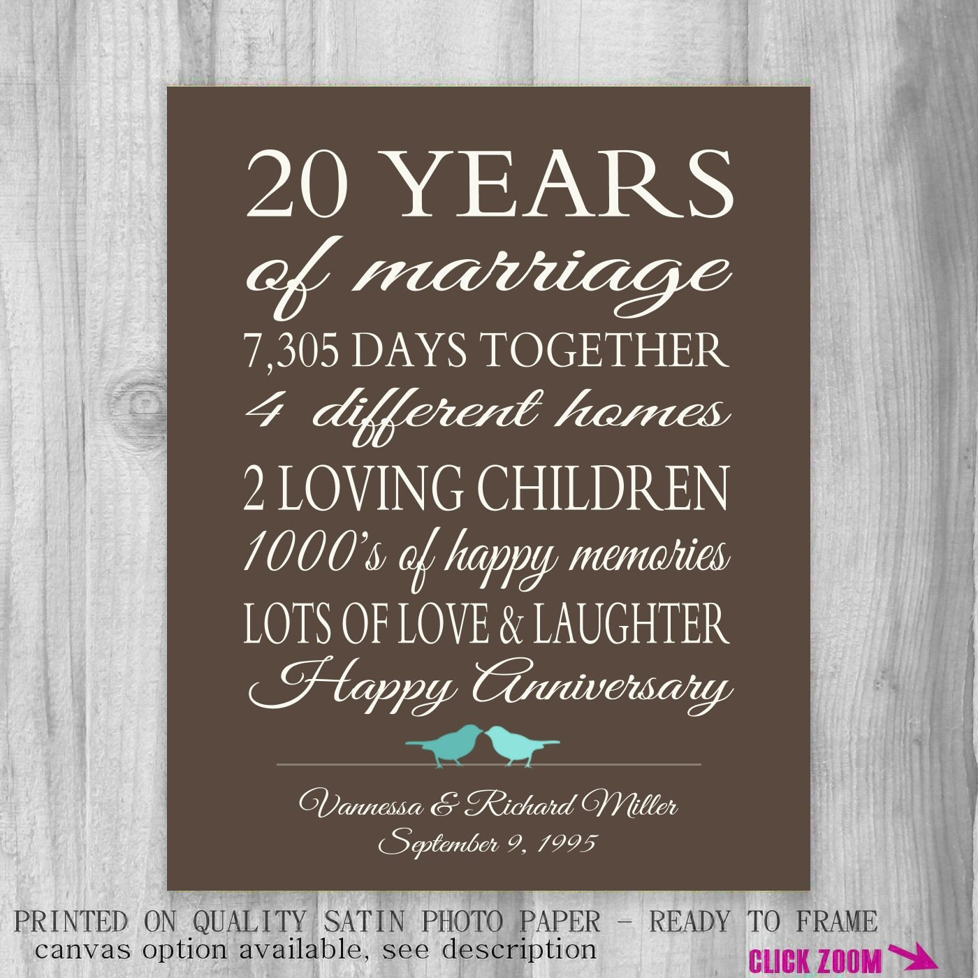 Wedding Gifts By Years Married : 20 Year Anniversary Gift for Parents 20th Anniversary Present