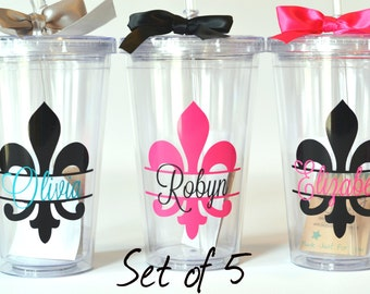 5 - Bridesmaids Gifts  - Fleur-de-lis - Your choice of colors and personalization - Set of 5
