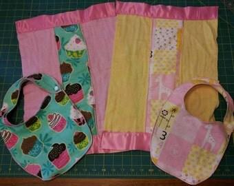 Handmade custom embroidered Bib and Burp cloth set