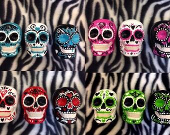 Set of 3 Day of the Dead Sugar Skull statues handmade hand made OHIO USA Ceramic Pottery Tattoo