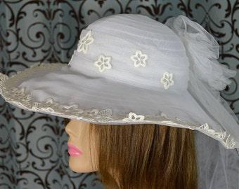 Big White Floppy Summer Wedding, Derby, Church, Beach, Party Hat