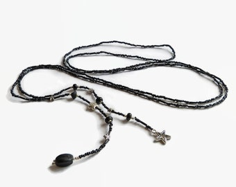 Long seed bead lariat, black lariat, star lariat, lariat necklace star, wrap necklace, beaded lariat