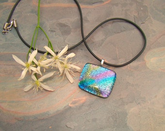 Glass Pendant Multicolored Dichroic Glass Pink, Teal, Gold