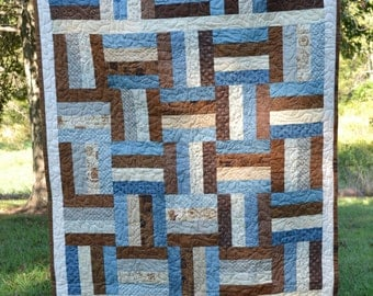 Blue and Brown Lap Quilt