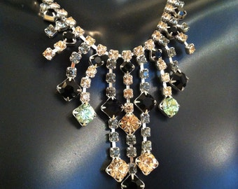 SALE Amazing Pink Green Black & Clear Rhinestone Necklace