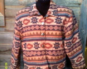 Woman's Vintage Heavy Cotton Southwestern Jacket Blazer, size XL (10 to 14), by Tan Trums, Womens Fall Jacket 14, Southwestern Blazer 14
