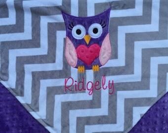 Personalized Baby Blanket 30x36, Owl Baby Girl Blanket, Custom Blanket, Minky Baby Blanket, Made to Order