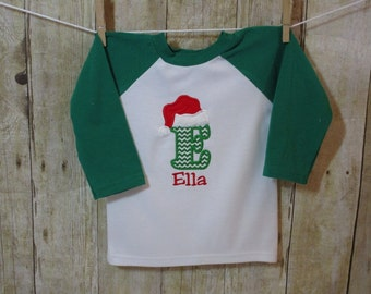 Children Christmas Shirt- Boy Personalized Christmas Raglan Shirt-Santa Shirt