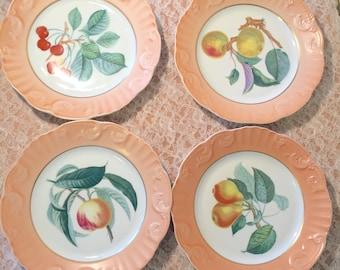 Set of 4 Salad/Dessert Plates - Summer Fruit by Mottahedeh