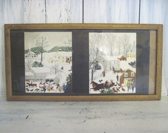 Vintage Grandma Moses painting pictures of winter, Old Grist Mill & Getting Ready For Christmas A.M.Robertson prints wall hanging wood frame